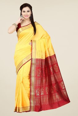 Ishin Yellow & Maroon Embroidered Poly Silk Saree