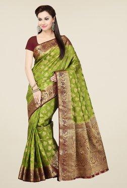 Ishin Green & Maroon Embroidered Tussar Silk Saree