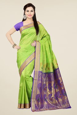 Ishin Green & Purple Embroidered Art Silk Saree