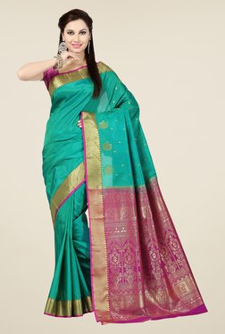 Ishin Teal & Pink Embroidered Poly Silk Saree