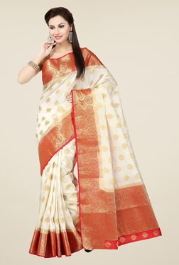 Ishin Off White & Red Embroidered Tussar Silk Saree