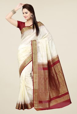 Ishin Off White & Maroon Embroidered Poly Silk Saree
