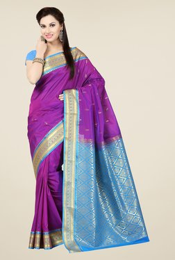 Ishin Purple & Blue Embroidered Poly Silk Saree