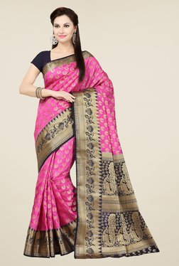 Ishin Pink & Black Embroidered Tussar Silk Saree