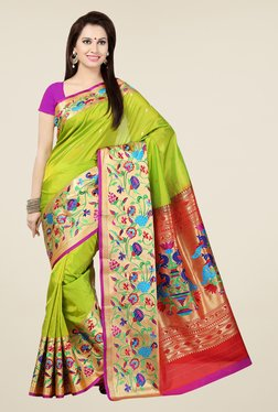Ishin Green & Maroon Embroidered Poly Silk Saree