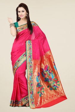 Ishin Coral & Red Embroidered Poly Silk Saree