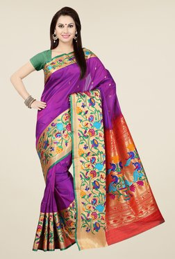 Ishin Purple & Red Embroidered Poly Silk Saree
