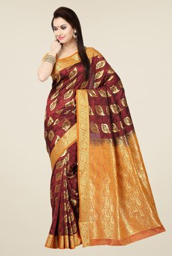 Ishin Maroon & Orange Embroidered Poly Silk Saree