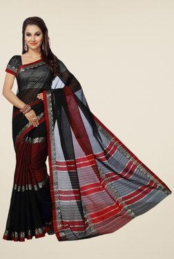 Ishin Black & Red Printed Poly Cotton Saree
