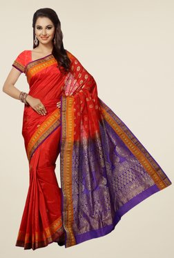 Ishin Red & Purple Printed Art Silk Saree