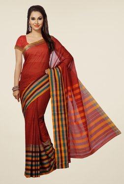 Ishin Red Striped Poly Cotton Saree