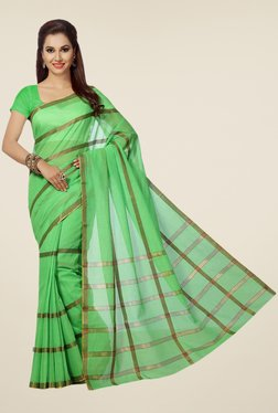 Ishin Green Striped Poly Cotton Saree
