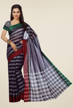 Ishin Grey & Black Striped Poly Cotton Free Size Saree