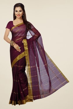 Ishin Maroon Striped Poly Cotton Saree