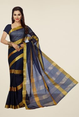 Ishin Blue & Golden Striped Poly Cotton Saree