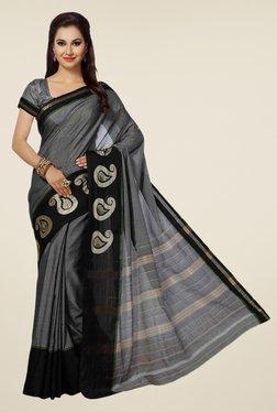 Ishin Grey Striped Mesrised Cotton Saree