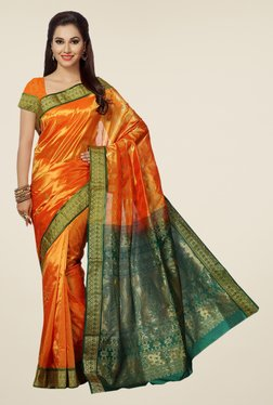 Ishin Orange & Green Printed Art Silk Saree