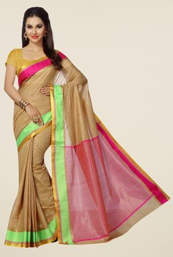 Ishin Beige Striped Mercerised Silk Saree
