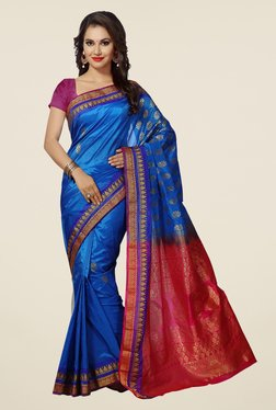 Ishin Blue & Pink Printed Art Silk Saree