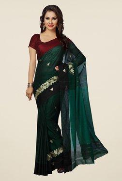 Ishin Green Printed Poly Cotton Saree
