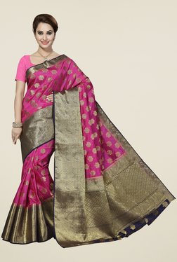 Ishin Pink & Golden Printed Poly Silk Free Size Saree