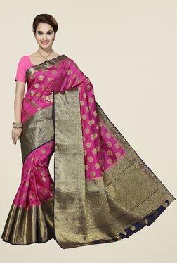 Ishin Pink & Golden Printed Poly Silk Free Size Saree