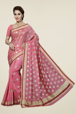 Ishin Pink Embroidered Silk Cotton Saree