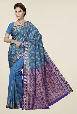 Ishin Blue & Purple Printed Silk Cotton Saree