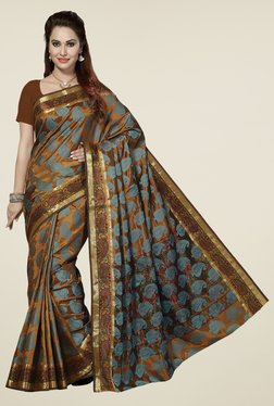 Ishin Brown & Blue Paisley Poly Silk Saree