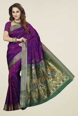 Ishin Purple & Green Printed Art Silk Saree
