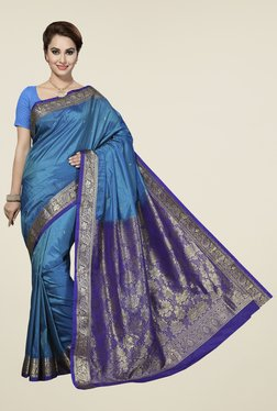 Ishin Blue Printed Art Silk Saree