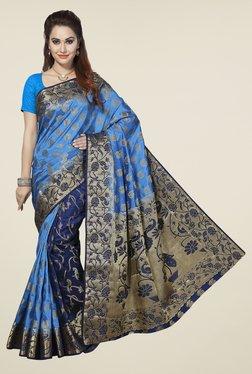 Ishin Blue Paisley Poly Silk Saree