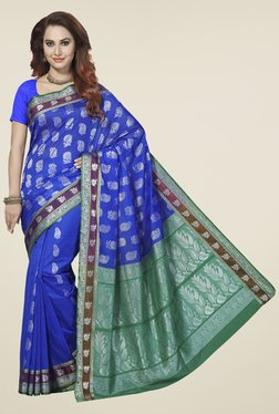 Ishin Blue & Green Printed Silk Cotton Saree