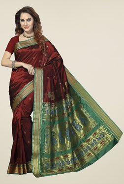 Ishin Maroon & Green Printed Art Silk Saree