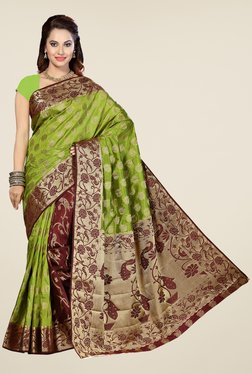 Ishin Green & Brown Printed Poly Silk Saree