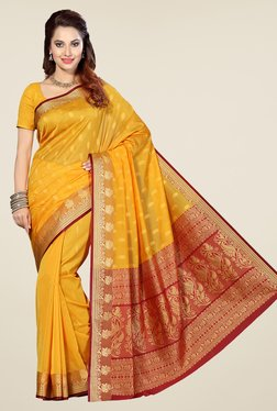 Ishin Yellow & Red Printed Poly Cotton Saree