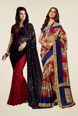 Shonaya Red & Rust Printed Saree (Pack Of 2)