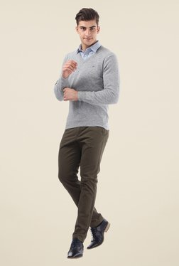 Monte Carlo Grey Textured V Neck Pullover