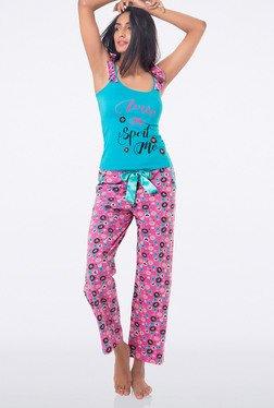PrettySecrets Pink Printed Full Length Pyjamas