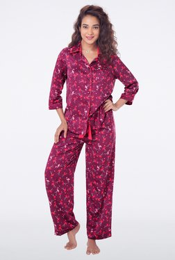PrettySecrets Wine Printed Top & Pyjama Sets