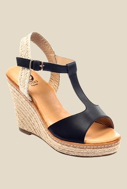 Pavers England Black & Beige Ankle Strap Wedges