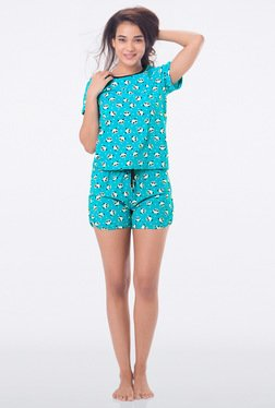PrettySecrets Aqua Animal Print Top & Shorts Set