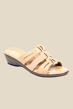 Pavers England Beige Wedge Heeled Sandals
