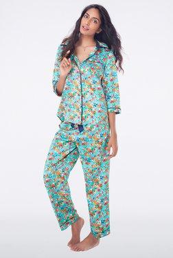 PrettySecrets Aqua Floral Print Top & Pyjama Sets