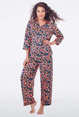PrettySecrets Navy Floral Print Top & Pyjama Sets