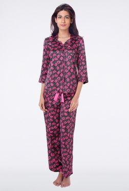 PrettySecrets Black Animal Print Top & Pyjama Sets