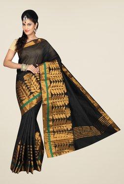 Pavecha's Black Banarasi Cotton Silk Solid Saree - Mp000000000561852