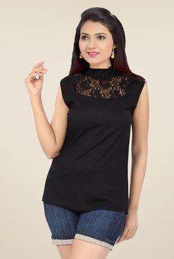 Ishin Black Lace Viscose & Nylon Top