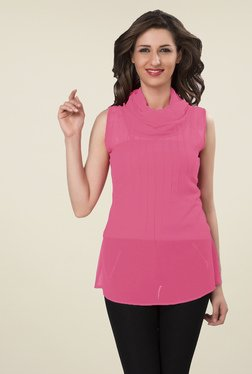 Ishin Pink Solid Georgette Top