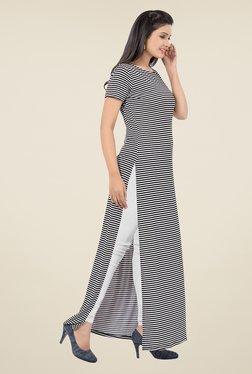 Ishin Black & White Striped Poly Lycra Top